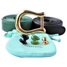 Tiffany & Co 18k Gold Jade Buckle Belt 47 grams