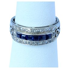 14K Vintage Diamond Synthetic Sapphire Band Ring