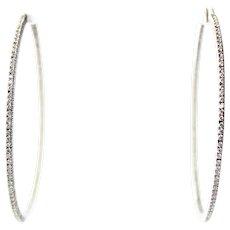 "18K Gold Inside Out VS Diamond Hoop Earrings 2.5"""
