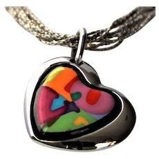 Frey Wille 18K Gold Enamel Heart Necklace