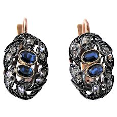 Antique Russian Diamond Sapphire 14K Gold Earrings