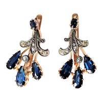 Antique Russian 3.5 cttw Sapphire Diamond Earrings 14K Gold