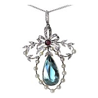 Edwardian Aquamarine Diamond Platinum 14K gold 7 cttw Ruby Necklace