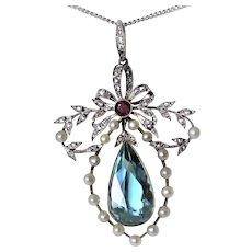 Edwardian Aquamarine Diamond Platinum 14K gold 7 cttw Ruby Necklace