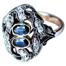 Antique Russian Diamond Sapphire 14K Gold Ring