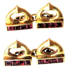 Cartier 18K Gold Ruby Cuff Links