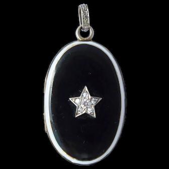 Antique Cartier Diamond Platinum 14K Enamel Locket