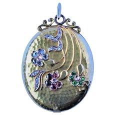 Antique Russian 14k gold Diamond Demantoid Garnet Locket