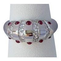Vintage Christian Dior Platinum Ruby Diamond Ring
