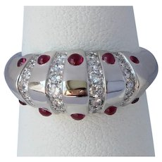 Vintage Christian Dior Platinum Ruby Diamond Ring
