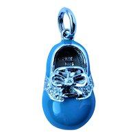 14k gold Baby Shoe enamel diamond pendant charm