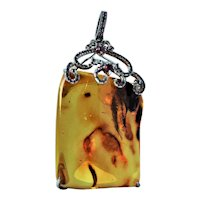Natural Baltic Amber pink sapphire pendant large
