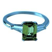 Platinum Peridot VVS Diamond Ring