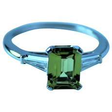 Platinum Peridot VVS Diamond Ring
