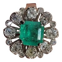 2.79ct Emerald 1.83 cttw Old Mine Diamond 18k Gold RIng ca.1950