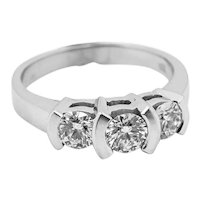 Ladies 1cttw 3 Diamond 18K White Gold Ring