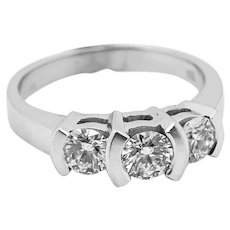 Ladies 1cttw 3 Diamond 18K White Gold Ring