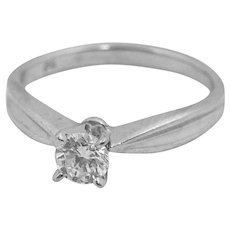 Ladies 18K White Gold Ring with One 0.34 Carat Round Brilliant Cut Diamond