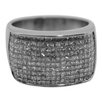 18K White Gold Diamond Ring Invisible Set 2.1 cttw.