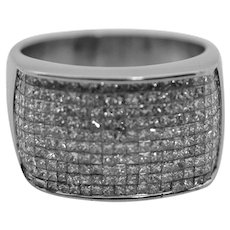 18K White Gold Diamond Ring Invisible Set 2.1 cttw.