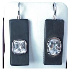 18K Diamond Topaz and Wood Earrings