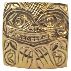 14k Gold Native North West Coast First Nations pendant
