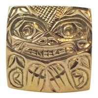 "14k Yellow Gold Pendant Hand Made Hand Carved North West Coast First Nations motif ""Bear"""
