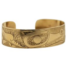 14K Gold  Native Bracelet  North West Coast First Nations