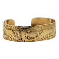 14K Yellow Gold Cuff Style Bracelet Hand Made Hand Carved North West Coast First Nations Motif
