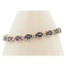 Ladies 14K Yellow Gold Mystic Topaz and Diamond Bracelet 15.81 cttw.