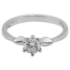 18K White Gold and Round Brilliant Cut Diamond Ring 0.34 Carat