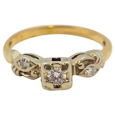 14 K Yellow Gold/White Gold Vintage Lady's Diamond Ring