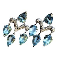 18K Gold Diamond Aquamarine 16 cttw Earrings John Hardy