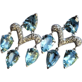 18K Gold Diamond Aquamarine 16 cttw Earrings John Hardy