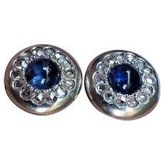 Antique Platinum Sapphire Diamond Earrings