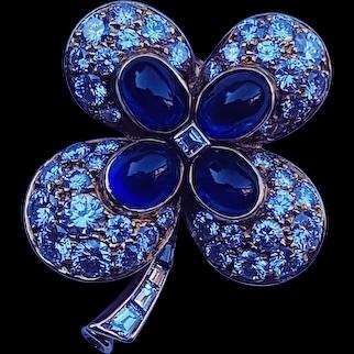 Cartier 18k Gold 5.98 cttw VVS Diamond Sapphire Brooch