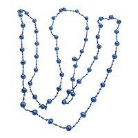 "Edwardian Platinum Pearl Necklace 66"" 51 grams"