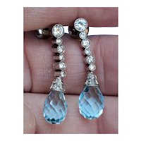 18K Gold Diamond Earrings Topaz