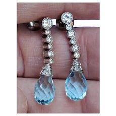 18K Gold Diamond Earrings Topaz