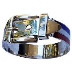 GUCCI Sterling Silver Enamel Buckle Bracelet