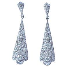 Vintage Platinum 2.82 Cttw Diamond Earrings