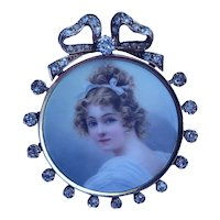Victorian 14K Gold Diamond Miniature Brooch