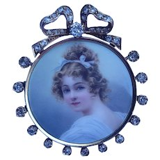 Victorian 14K Gold Diamond Miniature Brooch