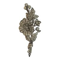 Victorian 4.2 cttw Diamond Spray Brooch Old mine cut Gold Silver