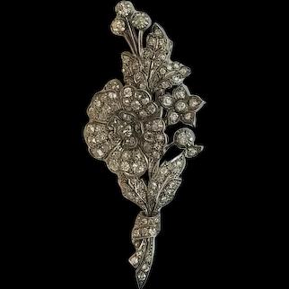 Victorian 4.2 cttw Diamond Spray Brooch Old mine cut Gold Silver