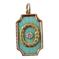 Antique Russian 14K Gold VS Diamond Enamel Pendant