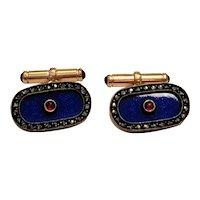 Antique Russian 14k gold Diamond Enamel Cufflinks