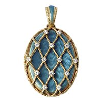 Victor Mayer Large 18K Gold Diamond Enameled Locket 22g
