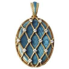 Victor Mayer Large 18K Gold Diamond Enameled Locket 22g