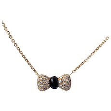 Van Cleef and Arpels 18K 0.72 Cttw Diamond Onyx Bow Necklace
